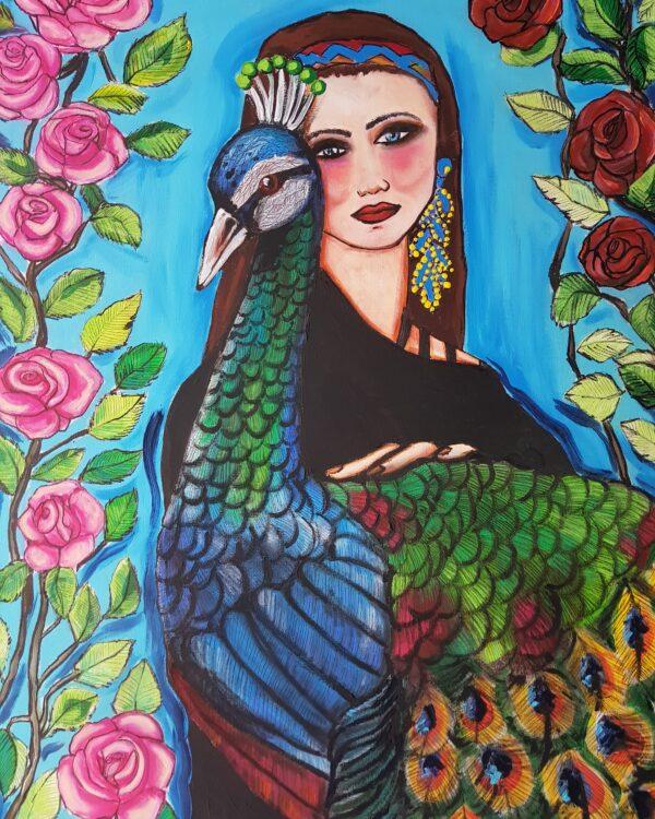 Donna con pavone