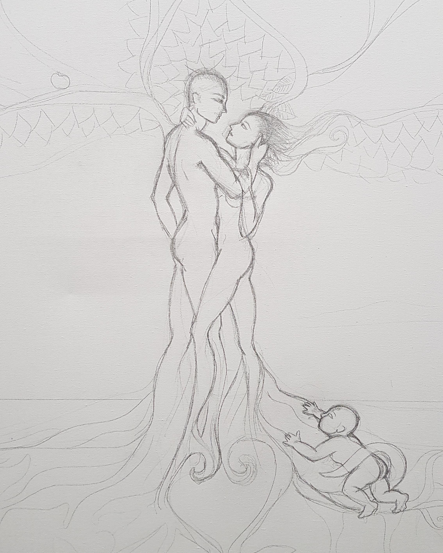 Disegno dipinto a mano albero