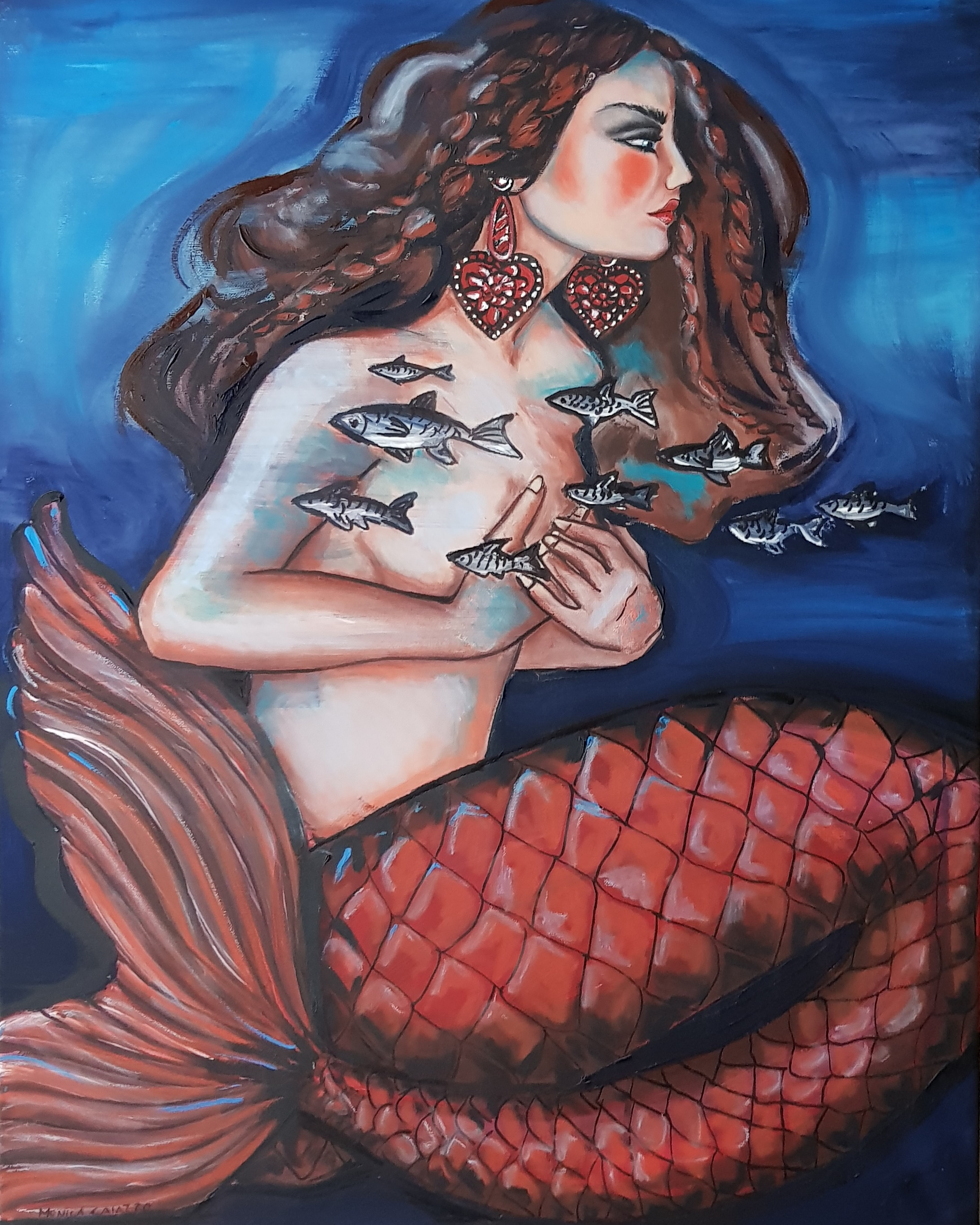 Hand painted Mermaid with red tail