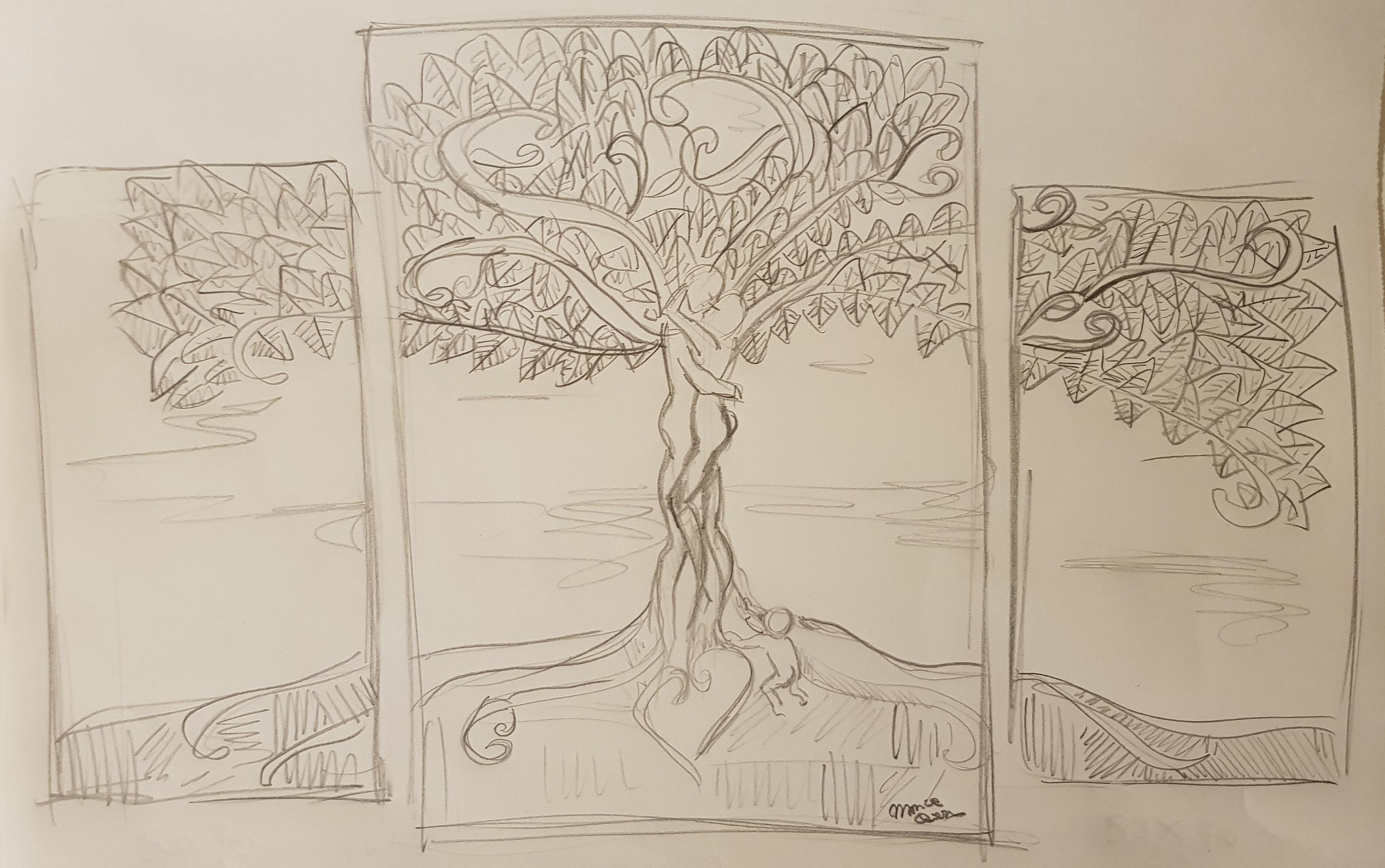 bozza dipinto a mano albero