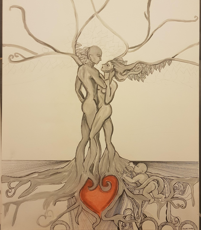 Parziale dipinto a mano albero